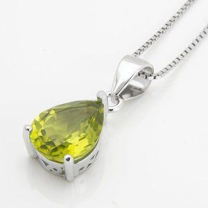 Natural Peridot Sterling Silver Necklace